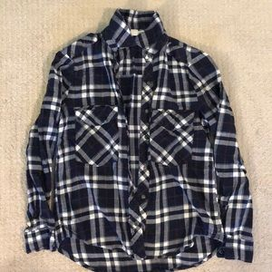 A navy blue plaid shirt